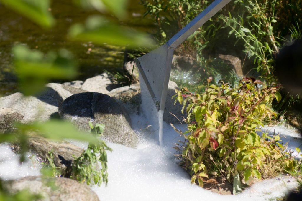 Foamstream in use killing weeds